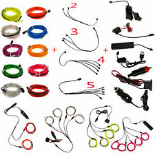 1/2/3/4/5M EL Wire Flexible Neon Glow Strip Lights Rope Power Party Controller