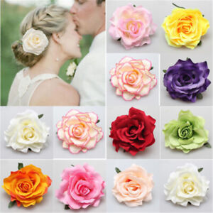 4x Fabric Rose Flower Large Hair Clamp Claw Clip Corsage Wedding Bridal Hairpin^