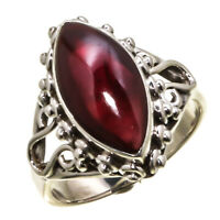 GARNET NATURAL GEMSTONE 925 SOLID STERLING SILVER HANDMADE JEWELRY RING 3 TO 12