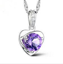 925 Silver Amethyst Heart Pendant Necklace Women Lady Jewelry Valentine's Gift