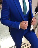 Slim Fit Herrenanzug in Blau mit Weste,-Smoking-Anzug-Hochzeit-Bühne-Sakko-Party