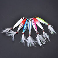1pc metal jig fishing lure with feather 10g artificial bait freshwater jiggingNT