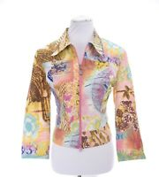 Joseph Ribkoff Sz 12 Art-to-Wear Full Zip Jacket Retro Deco Boho Floral Women L