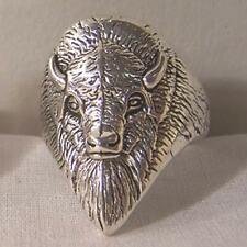WILD BUFFALO HEAD NEW SILVER BIKER RING BR90R mens womens fashion jewelry RINGS