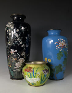 Japanese Silver And Silver Wire Cloisonne Vases Gonda Hirosuke