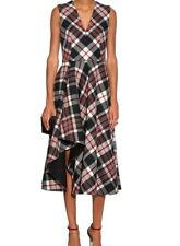 Alexander McQueen Women's Red Checked Wool Midi Dress SIZE 46 (10 US)