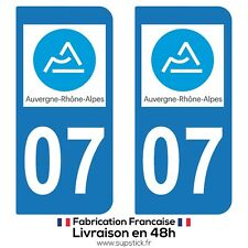 2 STICKERS AUTOCOLLANT PLAQUE IMMATRICULATION DEPT 07 Auvergne-Rhône-Alpes