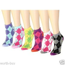 New 12 Pairs Womens Argyle Diamond Ankle Quarter Socks Fashion Casual Size 9-11