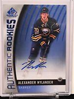 2017-18 UD SP Game Used Blue Auto Authentic Rookies #182 Alexander Nylander
