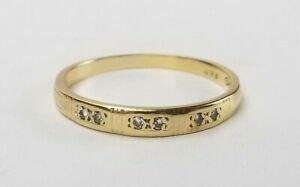 14K GOLD & Diamond Wedding Band Ring 1.5g Not Scrap s7.5 Vtg Signed