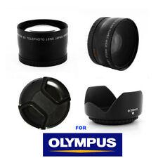 WIDE ANGLE LENS +TELEPHOTO LENS + HOOD 58mmFOR OLYMPUS E400 E410 E420 E450 E510