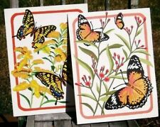 Completed Paint by Number Paintings PBN Vintage PAIR of Butterfly Pictures