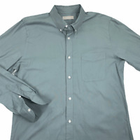Everlane Mens Green Solid Long Sleeve Collared Cotton Button Up Shirt Size Large