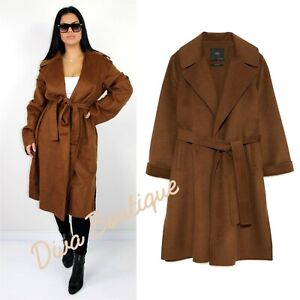 Zara AW 2018/19 Brown Wool Handmade Belted Coat Size XL Free P&P NEW RRP £129