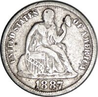 1887-P LIBERTY SEATED SILVER DIME VG/FINE DETAILS  CLEANED CULL COND  041821025