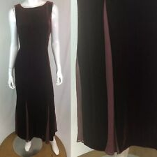 $198 Talbots Women's 8 Burgundy Velvet Silk Chiffon Tank Maxi Flare Shift Dress