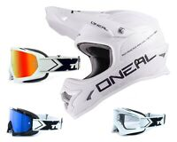 Oneal 3Series Helm Flat white mit TWO-X Race Brille Crosshelm Motocross Enduro