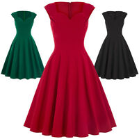 VINTAGE Slim Short Sleeve Pin Up Swing Cocktail Party Dress RED Black S M L XL
