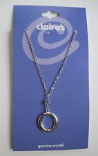 "x 18"" circle pendant O crystal silver tone NECKLACE claire's jewelry"