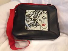 Cyclus Black Recycled Tire Purse Bag With Roy Lichtenstein Style Woman On Front
