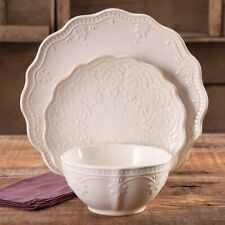 Farmhouse Lace 12-Piece Dinnerware Set, Linen