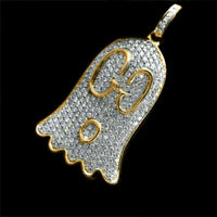 0.30 Ct Round Cut Diamond Ghost Pendant For Women's 14K Yellow Gold Over
