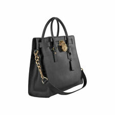 Michael Kors Black Gold Hamilton Saffiano Leather N/S Tote Bag