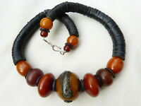 African Amber Necklace, resin amber, coconut disks, OAAK Beadart-Austria Design