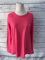Vineyard Vines Womens Sz S Long Sleeve Pink Pocket Tee White Print Whale Blouse