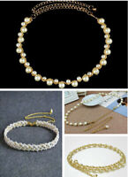 Vintage Women Girls Fashion Elegant Pearl Bead Charms Gold Waist Belt Strap Gift