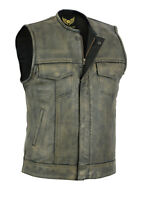 Men SOA Distressed Brown Motorcycle biker Cow Leather Vest gun Pocket 20% OFF