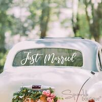 JUST MARRIED CAR WINDOW STICKER -White- Easy to Apply/Remove -Wedding Decoration