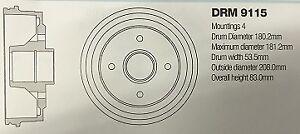 DRM9115 RENAULT CLIO/R5/R9/R11 BRAKE DRUM