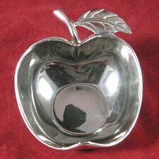 Silver Plate Apple & Leaf Shaped Candy Condiment Dish / Made in Israel