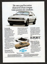 1988 CHEVROLET Cavalier RS V6 Vintage Original Print AD White car Z24 Canada