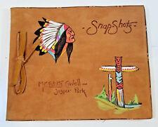 Vintage Souvenir Photo Album Mt Edith Cavell Jasper Park Canada Hand Painted