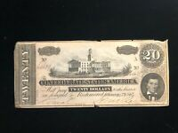 1864 AU Confederate CSA Currency T67 $20 Note Capitol Nashville #64654 X Series