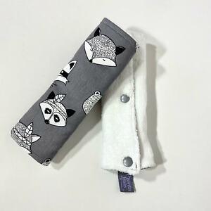 Pram stroller rocker straps or car seat belt covers teething pads in grey foxes