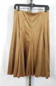 Faux Suede SKIRT M Medium Tan Knee Length soft brown NWT Christopher Banks
