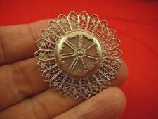 + pearl button center brooch pin (br-282) round filigree silver tone flower