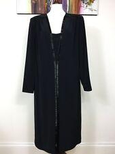 TOM BOWKER Black Crepe Beaded Long Sleeve Shoulder Pads Evening Smock Dress 16