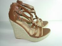 WOMENS BROWN LEATHER PLATFORM WEDGE SLINGBACK SANDALS HEELS SHOES SIZE 6.5 M