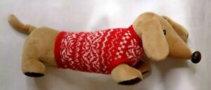 "Pier 1 Dachshund  Weiner Dog Plush Stuffed Animal Christmas Sweater 18"" Holiday"