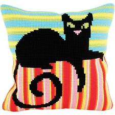 "Cross Stitch on Stamped Canvas with Yarn. Mr Handsome Cat 15-3/4"" x 15-3/4"""
