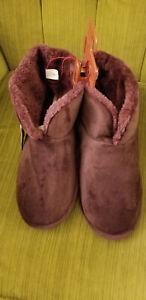 Dearfoams Women's Sara Velour Bootie Slipper Aubergine XL Size 11-12