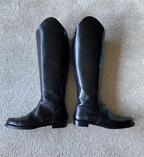 Jil Sander Black Leather Riding Boots Size 38