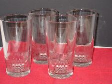 Vintage Set of 4 Glasses Clear with Ridges Around the Bottom
