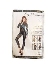 NEW! LEG AVENUE 85047 LAME ZIPPER FRONT CATSUIT ADULT COSTUME CATWOMAN SMALL
