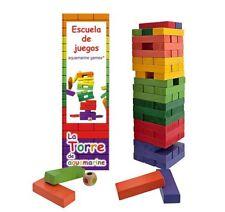 Torre Jenga XXL colores. Juego de equilibrio madera maciza. 60 piezas. Con dado