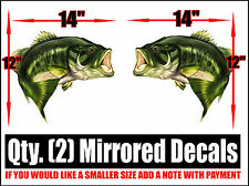 2 LARGEMOUTH LARGE  BASS FISH FOR SKEETER RANGER LUND FISHING BASS BOAT DECALS